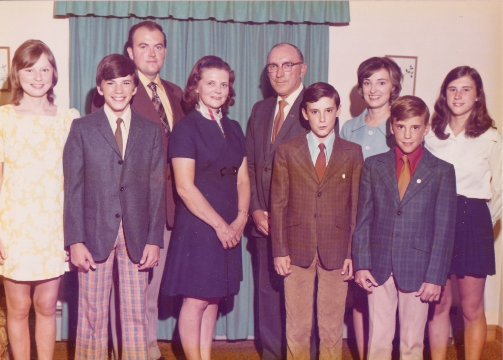 The Snyder Family:  (from left) Joyce, Dave, Bobby, Mom, Dad, Jon, Margaret, Me, Mary